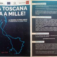 Distribuzione volantino Regione Toscana aree coperte FTTH banda ultralarga